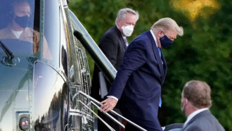 President Trump arriving at Walter Reed