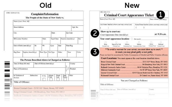Old versus new criminal summons documents