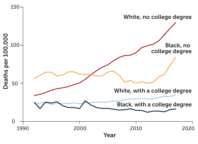 graph showing death rates from 1992 to 2017 for white and Black people