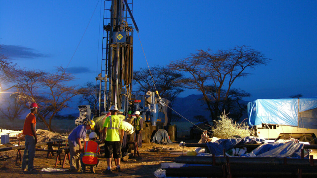 workers standing at a drilling site in Kenya's Koora basin