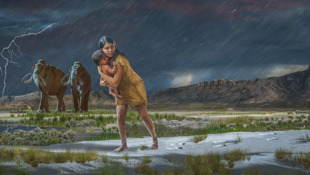 Ice Age woman carrying a toddler illustration