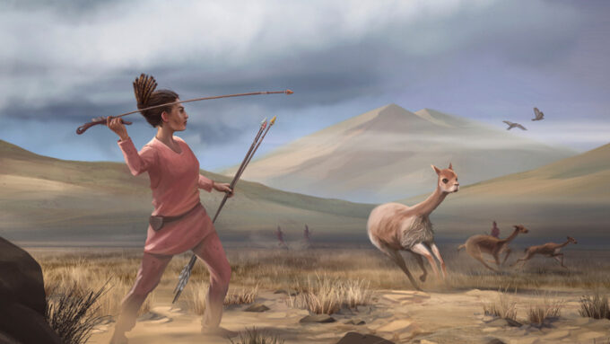 an illustration of a woman throwing a spear