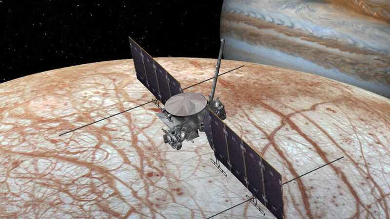 NASA's Europa Clipper with Jupiter in background
