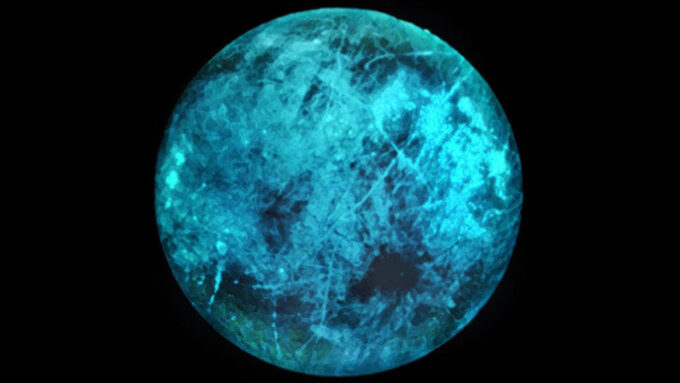 bluish illustration of surface of Europa