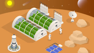 farm on Mars, illustrated