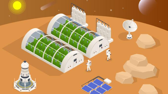 farm on Mars, illustrated