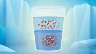 supercooled water molecules illustrated