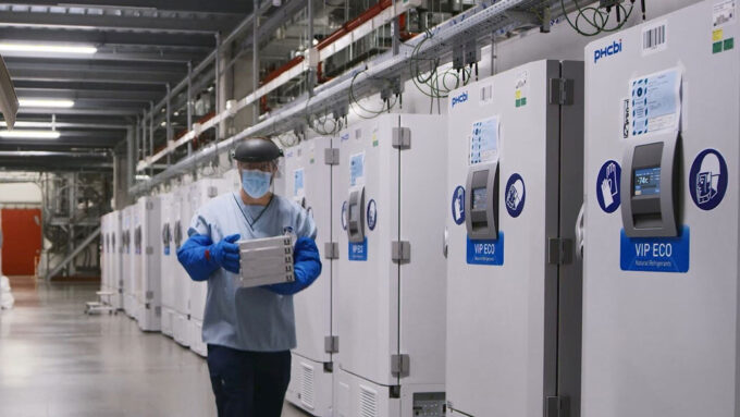 Freezers at a Pfizer facility