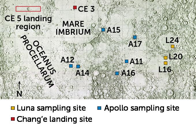 map of lunar sampling sites