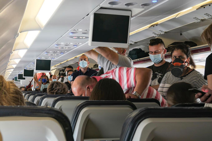 passengers on a flight from Athens