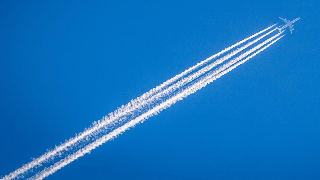 Jet flying across sky