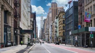 a nearly empty city street in New York City
