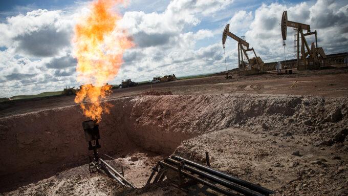 gas flare at North Dakota oil well