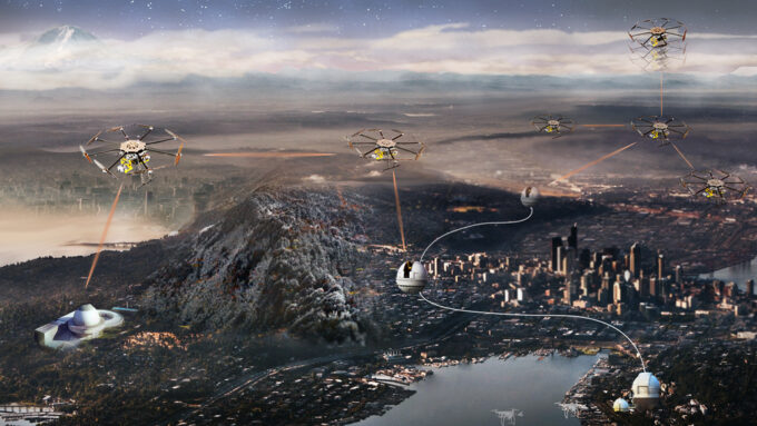 illustration of drones above a city