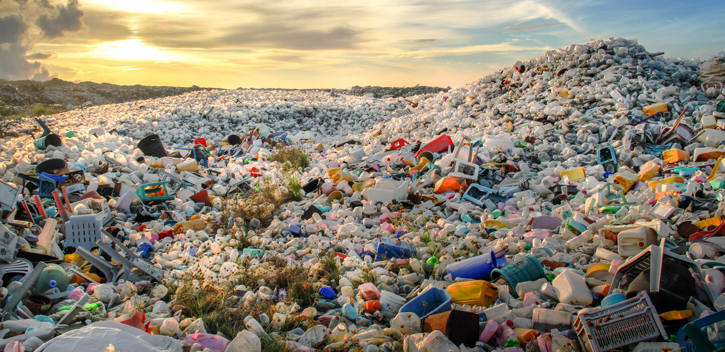 piles of plastic at a landfill
