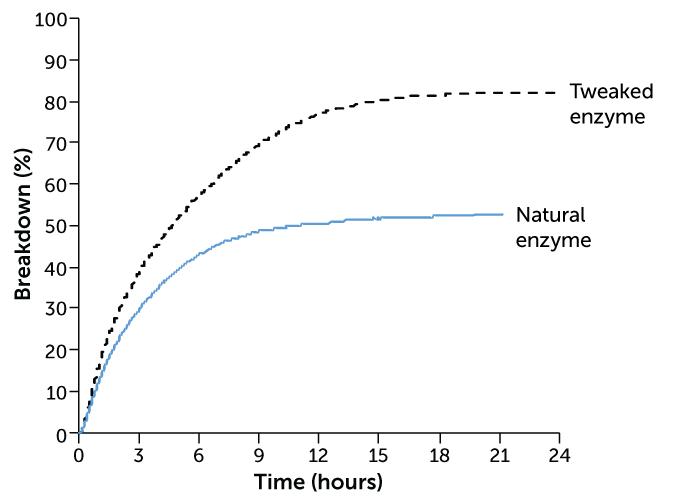PET breakdown by an enzyme