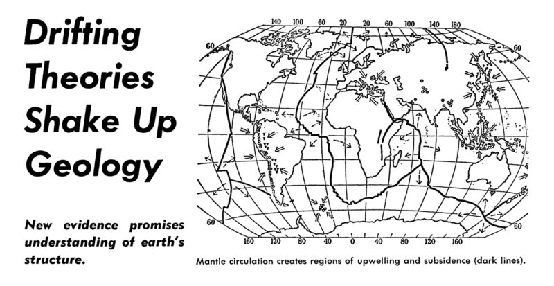 """Scan of 1967 issue of Science News with headline """"Drifting Theories Shake Up Geology"""""""