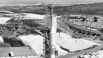 Image of rocket on the base set to launch Landsat