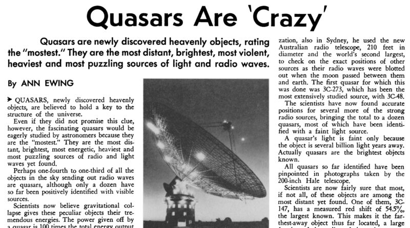 "image of a magazine page with the headline ""Quasars are 'Crazy'"""