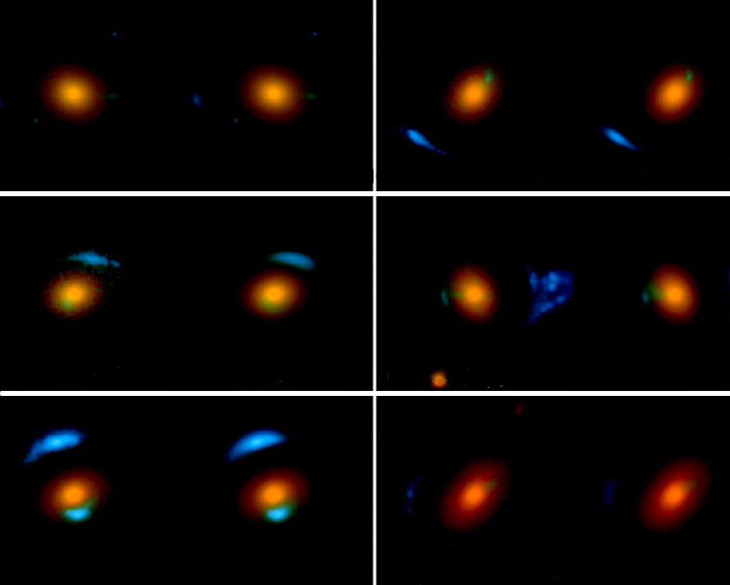 six-panel image showing different ways galaxies bend light