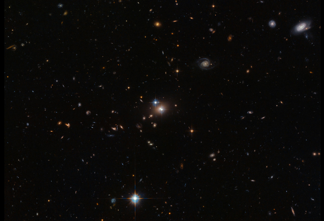 starry image with bright spot at center