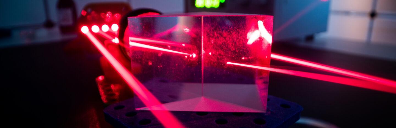 red laser in optics lab