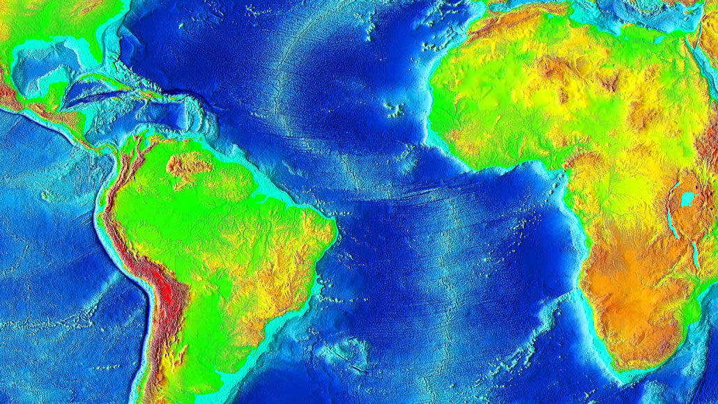 false-color map of Mid-Atlantic Ridge