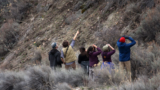 Jesse Laney and other ecologists on a birdwatching trip