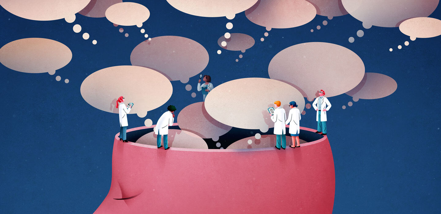 illustration of scientists observing thought bubbles from a brain