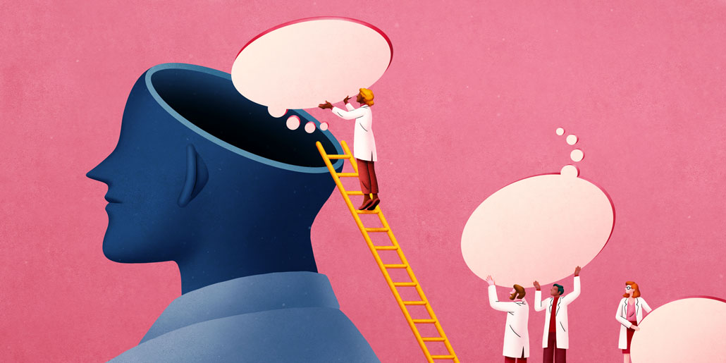 illustration of scientists on a ladder removing thought bubbles from a brain