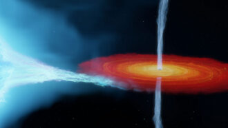 illustration of Cygnus X-1 black hole slurping mass off companion star