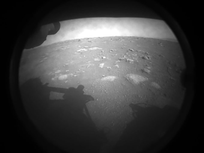 black and white image of the martian surface from perseverance rover