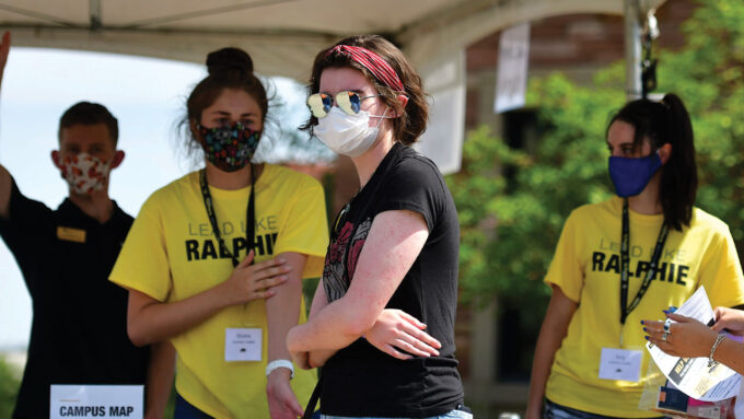 masked students on the UC Boulder campus