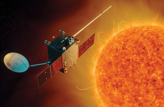 illustration of the Lagrange mission satellite and the sun