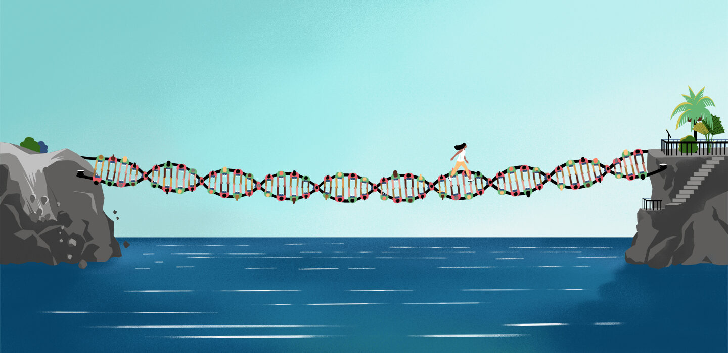 illustration of a woman walking across of a bridge of DNA