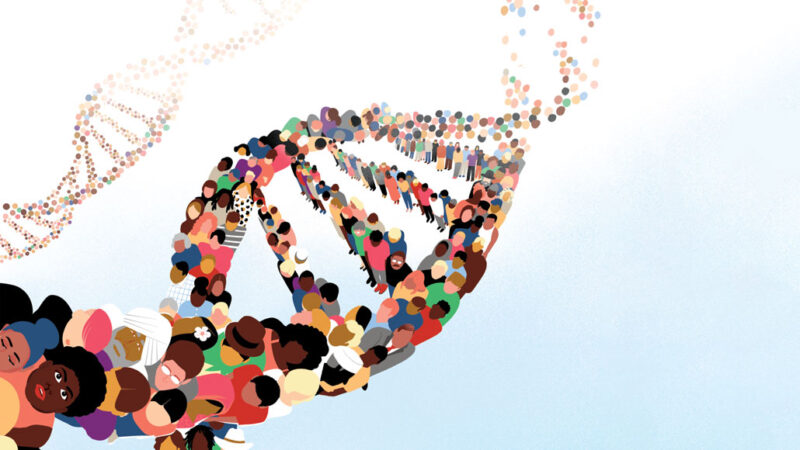 illustration of a DNA strand made of people