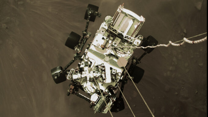 Perseverance parachuting down to Mars
