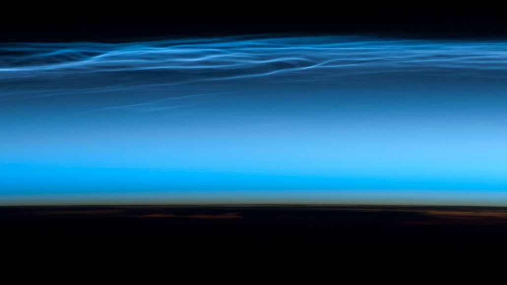 noctilucent cloud as seen from International Space Station