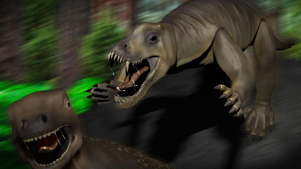 illustration of an anteosaur chasing a Moschognathus