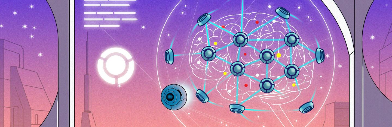 illustration of a science fiction nanobot brain mesh interface