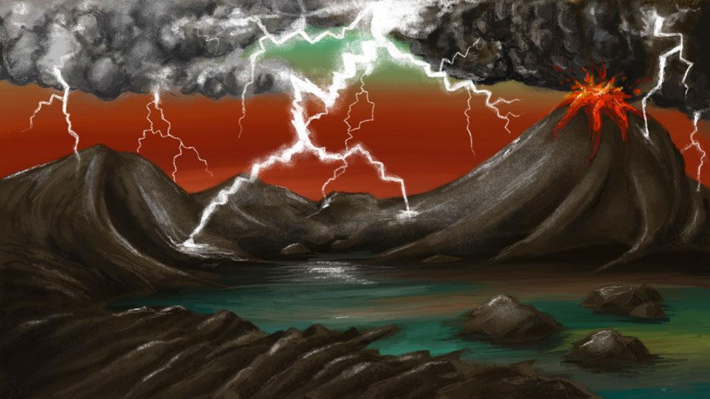 illustration of lightning striking early Earth