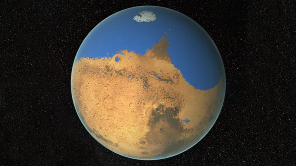 illustration of mars if it had surface water
