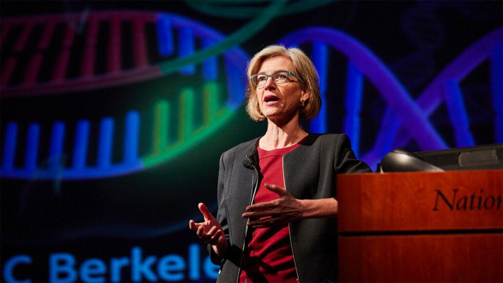 Jennifer Doudna presenting at an NIH event