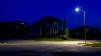 street light in a suburban neighborhood