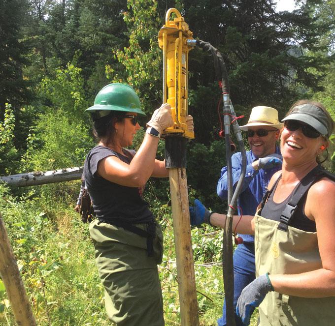 USDA staff building a dam at Birch Creek