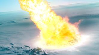 illustration of an asteroid hitting Antarctica