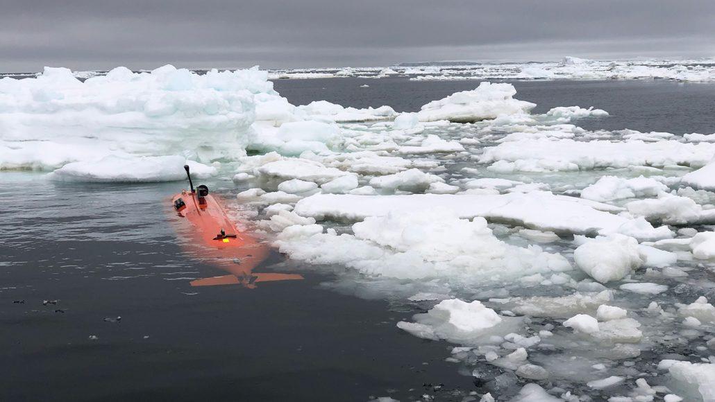 autonomous underwater vehicle Ran amid floating ice