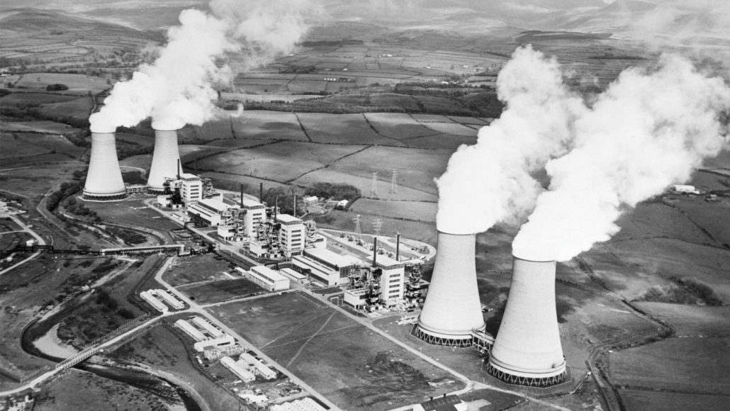 black and white image of Calder Hall power plant smokestacks