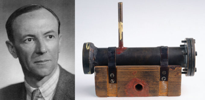image of James Chadwick next to an image of his device