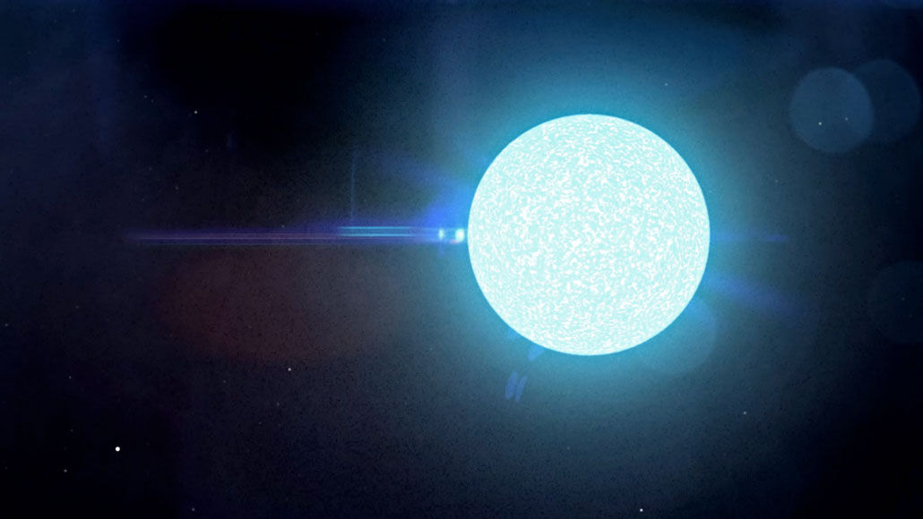 illustration of a neutron star as a bright orb on a black background